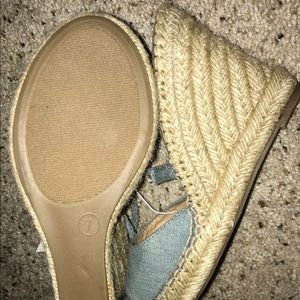 New peep toe denim tie up wedges shoes size 7